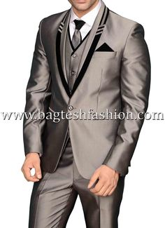 Designer one button black trimmed lapel tuxedo suit made from silver color polyester fabric. Comes with all accessories (Matching one vest, one white shirt, one trouser, pocket square and tie). Black Tuxedo Suit, Blue Suit Men, Groom Tuxedo, Tuxedo For Men, Tuxedo Jacket, Mens Dinner Suits, Mens Suits, Black Suit Wedding, Gentleman Style