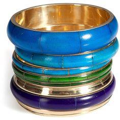ANTIK BATIK Aqua/Gold Bracelet Set (€100) ❤ liked on Polyvore featuring jewelry, bracelets, accessories, bangles, gioielli, gold bangle bracelet set, yellow gold bangle bracelet, bangle bracelet set, gold bracelet set and gold bracelets bangles