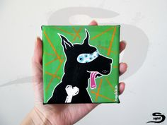 Black Dog is an original, one of a kind, surreal acrylic painting of a dog…