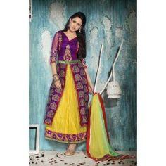 Dark Blue and Yellow color Net Brocade Anarkali kameez