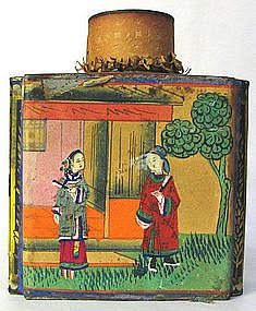 1930s Decorated Chinese Wu Ling Tea Tin