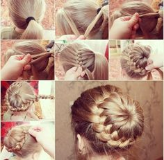 This looks so cool but I don't know how easy it would be to do yourself. Definitely unique #updo I haven't seen it anywhere else. #hair #bun #braid #braidedbun #unique
