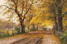 File:<b>Walter Moras</b> - Herbstliche Dorfstraße mit Pferdefuhrwerk.jpg