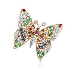 C. 1980 Vintage 1.80 ct. t.w. Multi-Stone and 1.00 ct. t.w.  Diamond Butterfly Pin in Two-Tone