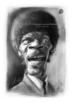 Jules Winnfield (Samuel L Jackson) Caricature Artist, Caricature Drawing, Funny Caricatures, Celebrity Caricatures, Pulp Fiction, Realistic Cartoons, Samuel Jackson, African American Art, Weird Pictures
