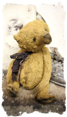 "handmade by Wendy Meagher of Whendi's Bears - An Original ONE OF A KIND approx 7"" Tall - Antique Style Aged Old Gold Chubby Bear with vintage ribbon"