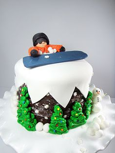 Snowboarder Cake with details on how to make and manipulate fondant Snowboarden Snowboard Cake, Christmas Cake Topper, Christmas Cakes, Cupcakes, Different Cakes, Cake Decorating Tips, Fondant Cakes, Cake Creations, Christmas Projects