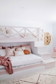 House 11 - Colour Me Hamptons Renovation Kids Room Bunk Beds Feature Walls Colours Girls Room Pink Room Transformation Bunk Beds For Girls Room, Bunk Bed Rooms, Big Girl Rooms, Bunk Beds Built In, Built In Beds For Kids, Room For Two Kids, House Bunk Bed, Bedroom For Girls Kids, Loft Bunk Beds