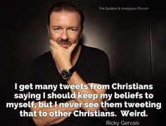 Atheism, Religion, God is Imaginary. I get many tweets from Christians saying I should keep my beliefs to myself, but I never see them tweeting that to other Christians. Weird.