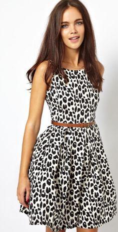 leopard print skater dress.