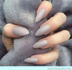 Pretty light grey stiletto nails for winter