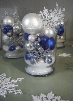 Winter décor; can use different colored balls and then wrap in holiday plastic with bow.  Perfect to sell at craft fairs.