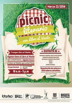 Afiche / Picnic Literario. Concepto, diseño e ilustración. Diseño: Cristian Hernández. Bogotá, 2014.