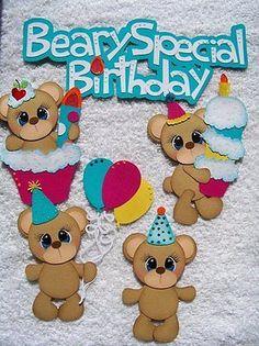Lori Beary Special Birthday Paper Piecing Premade Scrapbook Tear Bear Iopg | eBay