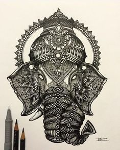 Ganesha ~ the elephant God ~ is a child of Shiva, the Supreme Being, and Parvati his wife. Also called Ganapati, Ganesha is one of the most… Ganesh Tattoo, Mandala Tattoo, Mandala Art, Ganesha Drawing, Ganesha Art, Lord Ganesha, Petit Tattoo, God Tattoos, Desenho Tattoo