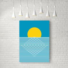 Sunrise - modern wall art - minimalist geometric poster. Inspired by scandinavian design. Ideal for decorating your living room or office.  An original
