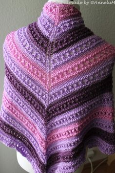 Mein Kirsch-Sorbet | AnneluM Shawl Patterns, Knitting Patterns, Crochet Patterns, Tricot Continental, Diy Scarf, Knitted Shawls, Sorbet, Knitting Projects, Hand Knitting