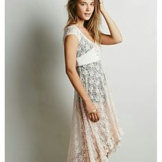 Free people Daphne Daze dress Free people corset front, sheer lace, high low dress. In great condition. Price firm no trades thanks! :) Free People Dresses
