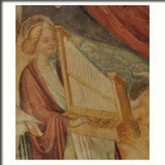 Cristoforo Moretti (attribuito a), Angelo Musicante, dipinto murale 1463 -  Angelo della Corte Celeste che attornia la Trinità e l'Incoronazione della Vergine, abside chiesa di Santa Margherita, Casatenovo (Lecco), Italia