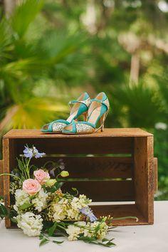 blue and gold sparkly Kate Spade shoes  http://www.weddingchicks.com/2013/09/20/vintage-destination-wedding/