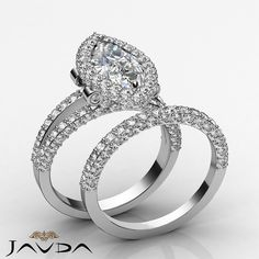 Marquise Diamond Engagement Halo Ring GIA I SI1 Bridal Set 14k White Gold 3.8 ct
