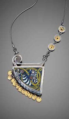 Figurehead Locket/Pendant by Nancy Bonnema and Cynthia Toops  |  Sterling silver, enamel and polymer clay mosaics. $3,440.00