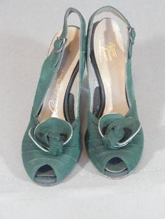 0535b6e6e1c336 vintage 1940s suede peep toe sling back shoe.  105.00