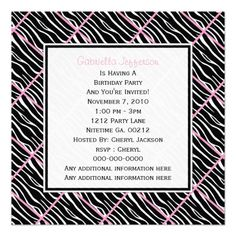 Pink Trimmed: Zebra Party Invitation