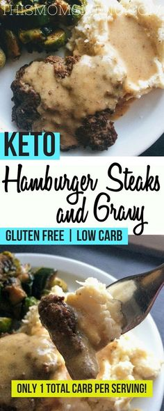 Hamburger steaks and gravy made keto friendly! #keto #ketorecipes #kidfriendlyrecipes #healthydinners #comfortfood