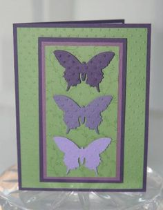 Purple and Green All Occasion Butterfly Trio Hand Made Card by laurascrafts for $3.75