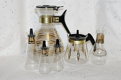 Pyrex Glass Gold Starburst 6 pcs Coffee Pot Carafe,Teapot Carafe,Oil,Spice,Salt & Pepper Gold Bands,Gold Starburst by TouchofClassic on Etsy