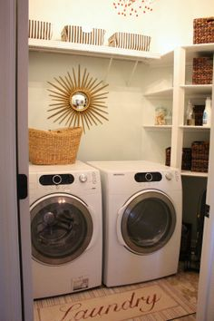 A Dream Laundry Room Makeover Home Decor A Laundry Room Makeover can be a great way to spruce up the look of your house. It is not uncommon for people to go through this without considering i. Laundry Decor, Small Laundry Rooms, Laundry Room Design, Laundry Closet, Healing Aloe Benjamin Moore, New Home Designs, Room Accessories, Entertainment Room, Organization Hacks