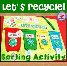 This set includes a recycling sorting activity for students to classify recyclable objects under each one of the four recycling containers (aluminum, plastic, glass and paper) and 5 mini posters that show real life pictures of things you can recycle (Aluminum, Plastic, Glass, Paper and Compost).(Instructions and photos of the final product included)If you are interested in Earth Day activities you may find this other product interesing THE 3 R'S FLAP…