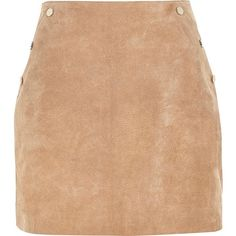 River Island Tan suede A-line mini skirt ($90) ❤ liked on Polyvore featuring skirts, mini skirts, studded mini skirt, tan skirt, mini skirt, suede a line skirt and short skirts