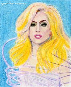 "Lady Gaga  colored pencil, 8""x10""  2011 by yoshiko mishina"