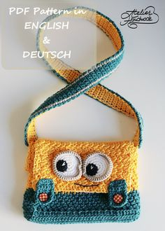 Crochet PATTERN - Minion yellow and blue Purse - PDF FILE from AtelierHandmadecom on Etsy Studio