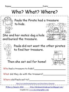 FREEBIE! Reading Comprehension- Who? What? Where? Paula the Pirate - Cute short story with related questions!