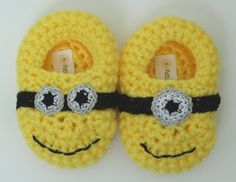 Minion Inspired Teddy Bear Slippers by PattisProjects on Etsy