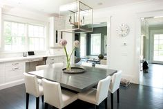 Gray Square Dining Table with White Dining Chairs, Transitional, Dining Room