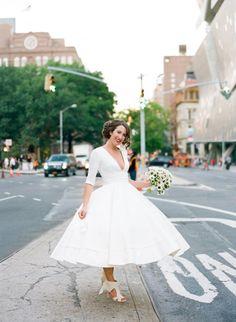 Wedding Blog Destination to New York: A City Loft Wedding. Dress and shoes by Delphine Manivet