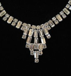 Clear Rhinestone Necklace 1950's Dressy Cocktail Piece by Elsewind, $48.00