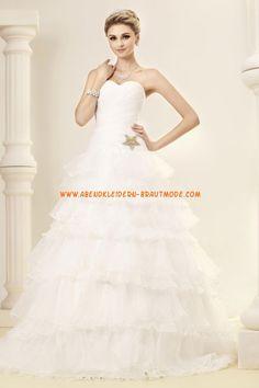 Liebste Herz-Ausschnitt A-linie gestupfte Hochzeitskleider aus Organza