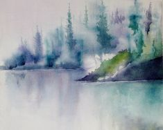 Landscape Watercolor Painting Print Abstract  by NancyKnightART, $20.00