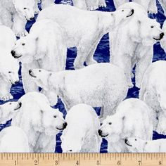 Northern Lights Polar Bears Midnight from @fabricdotcom  Designed by Liz Goodrick Dillon for Quilting Treasures, this icy cotton print collection is perfect for quilting, apparel, and home decor accents. Colors include shades of shades of blue, shade sof white, and grey.