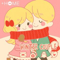 """Winter Couple""  This surreal theme is great for anybody! Download Now:http://bit.ly/2iWjF2u #cute #wallpaper #love #icon #plushome #homescreen #widget #deco"