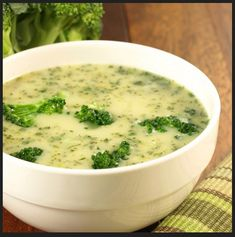 3 SmartPoints Cream of Broccoli Soup – Easy ww points recipes Broccoli Cauliflower Soup, Broccoli Soup Recipes, Cream Of Broccoli Soup, Creamy Cauliflower, Cream Soup, Broccoli Florets, Dukan Diet Recipes, Cooking Recipes, Healthy Recipes