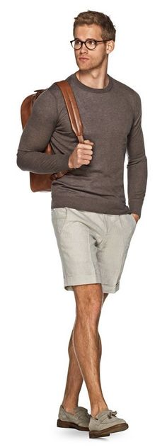 Suit Supply summer combo inspiration with beige shorts brown long sleeve shirt brown leather backpack no show socks gray tassel loafers glasses  #summerstyle  #summeroutfits #shorts #menswear #menstyle #mensfashion #backpack