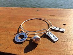Expandable Wire Bangle CrossFit Girl with Kettlebell and motivational charm