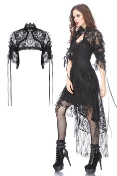 BW045 Gothic lolita gorgeous lace cape with messy gauze short sleeves