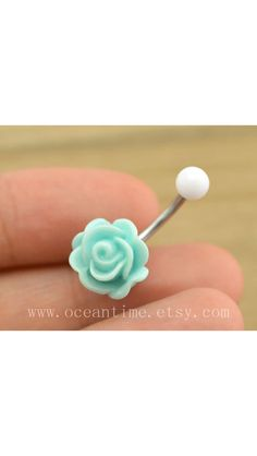 baby blue rose Belly Button jewelry,rose Navel Jewelry,rose bud belly button ring,girlfriend gift,summer jewelry from OceanTime on Etsy. Saved to Things. Bellybutton Piercings, Cool Piercings, Piercing Ring, Piercing Tattoo, Piercing Ideas, Jewelry Tattoo, Body Jewelry, Jewlery, Belly Button Jewelry